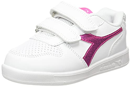 Diadora Playground TD Girl, Scarpe da Ginnastica Bambina, White/Pink Fluo, 27 EU
