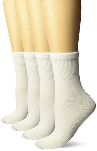 Dr. Scholl's Women's 4 Pack Diabetic and Circulatory Non Binding Ankle Socks, White, Shoe Size: 4-10