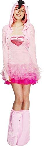Fever, dames Flamingo kostuum, tutu jurk met afneembare bandjes, jas met dier capuchon en laarzen, maat: L, 40092