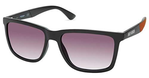 Harley-Davidson - Gafas de sol para hombre con borde más grueso, marco negro mate/lentes ahumadas