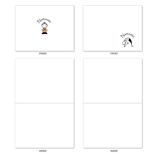 The Best Card Company - 10 Blank Yoga Note Cards Bulk (4 x 5.12 Inch) - Assorted Stick Figure and Animals Cards - Namaste Notes M3963 Photo #6