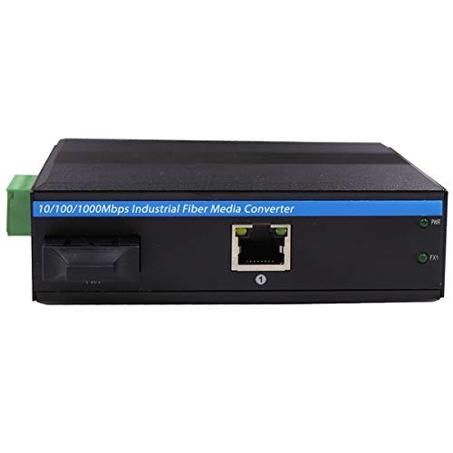 Conversor de Medios Gigabit Ethernet endurecido, Modo único, Duplex, Fibra Industrial SC a Interruptor de Red, DINRail/Montaje en Pared, 9-52 VDC, Clase de Seguridad IP 40