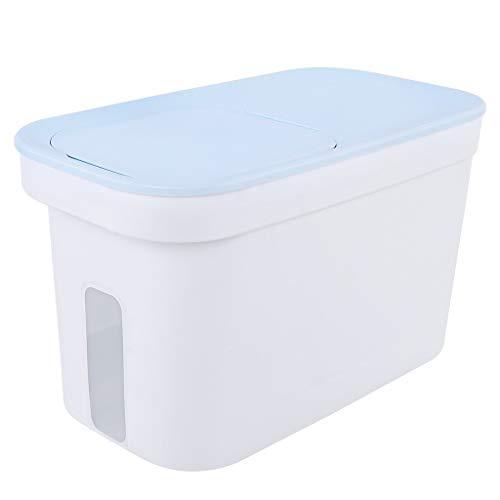 Jlxl 15L Groß Hundefutter Futtercontainer, Katze Tier Lager Behälter 8kg Trockenfutter 10kg Samen Box Mit Rädern Messlinie (Farbe : Blau)