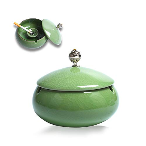 KATELUO Keramik Aschenbecher mit Deckel, Windaschenbecher für Draußen und Innen, Aschenbecher für Balkon/Terrasse/Zuhause/Büro Dekoration (Cyan)