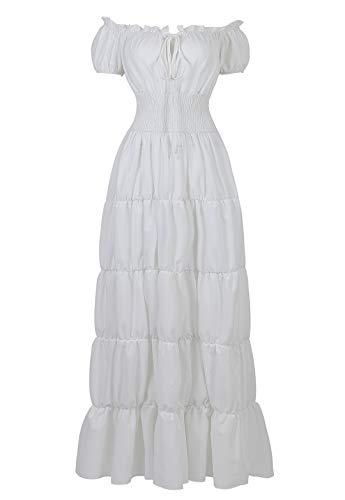 Women Renaissance Dress Pirate Peasant Wench Irish Costume Medieval Boho Chemise Faire Gown Maxi Long Dress White Small