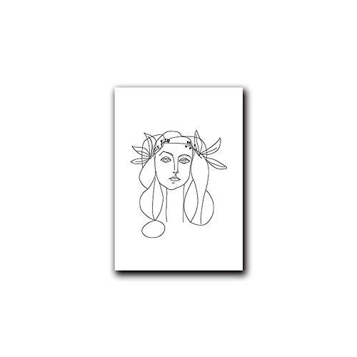 YWOHP Línea en Blanco y Negro Mujer Flor Dibujo Pared Arte Imagen Cartel Abstracto Lienzo impresión Pintura Minimalista decoración nórdica-30x40cm