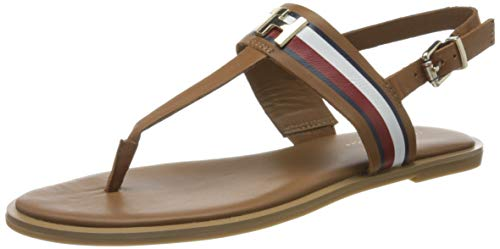 Tommy Hilfiger Damen Corporate Leather Flat Peeptoe Sandalen, Braun (Summer Cognac Gu9), 39 EU