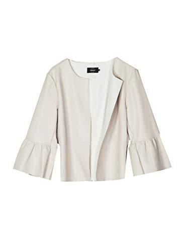 ONLY Damen onlDANCE Frill Faux Leather Jacket OTW Blazer, Grau Moonbeam, 38