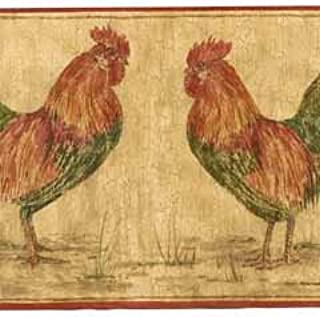 Rooster Wallpaper Border - Red Edge…