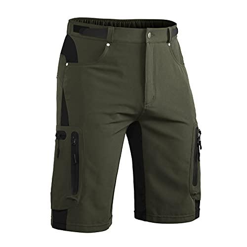 Hiauspor - Pantaloncini da uomo, ad asciugatura rapida, elasticizzati, per mountain bike, mountain bike, per escursionismo, pesca tattica, con 6 tasche - verde - M