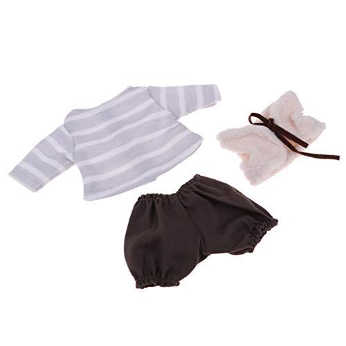 Fenteer Schöne Babypuppe Kleidung Herbst Outfit Set für 25cm Mellchan Puppen - # 7