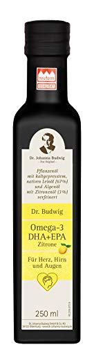 Dr. Budwig Omega-3 DHA + EPA Zitrone - Das Original - Die perfekte Öl-Komposition zur Unterstützung von Herz, Hirn und Auge sowie für besondere Belastungssituationen, 250 ml