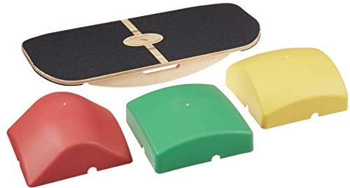 Blue Planet Balance Surfer | Tabla de equilibrio de bambú para oficina, escritorio de pie, surf, SUP, yoga, ejercicio, incluye 3 módulos de equilibrio (patín negro)