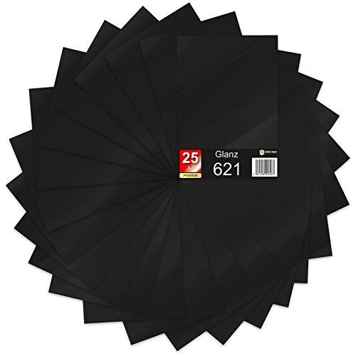 25 x Din A4 Bögen Plotterfolie 621/631 Selbstklebende Folie im Set Vinyl zum Plotten DIY Bastelfolie Sticker Beschriftung Aufkleber 29,7x21cm (Schwarz matt, 25er Set)