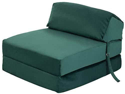 Loft 25 Sofa Bed Futon   Foam Filled Folding Chair   Soft Velvet Material   Ergonomically Designed Single Mattress Zbed (𝐅𝐨𝐫𝐞𝐬𝐭 𝐆𝐫𝐞𝐞𝐧)