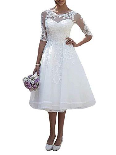 Brautkleid Hochzeitskleider Damen Knielang Spitzenkleid Tüll A Linie mit Halbarm Weiß EUR40