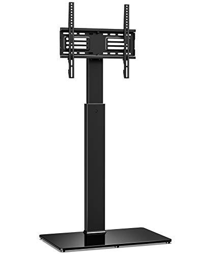 FITUEYES TV Bodenständer TV Standfuß TV Ständer Fernsehstand Glas höhenverstellbar schwenkbar für 32 bis 55 Zoll Flachbildschirm Aufsatz Möbel Rack TT106001MB