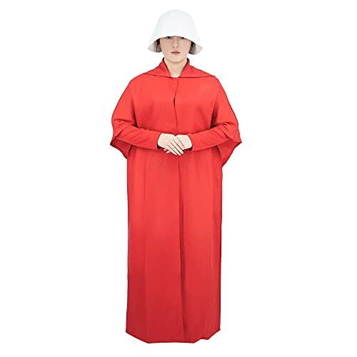Maimiao Disfraz de sirvienta para Mujer June Offred Capa roja Vestido de Capa Conjunto Completo con Gorro Sombrero Bufanda Cosplay de sirvienta para Fiesta de Halloween