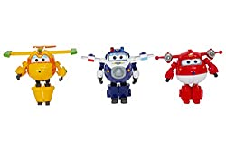 """""""Enter the world of Super Wings and recreate their adventures in your home with your set of 3 Transforming, transformable and articulated figures! Figures 12 cm high with articulated arms and legs. Transform into a few simple actions of a figure into..."""