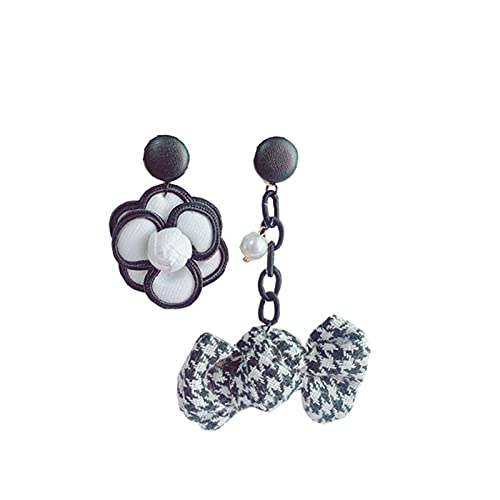 JUSTHUI Tela asimétrica Personalizada Bowknot Flower Pendientes Colgantes (Color : Black)