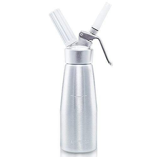 Professional Whipped Cream Dispenser 1 Pint Aluminum Cream Whipper, Durable Stainless Steel Coffee Spoon, 3 Decorating Nozzles, Charger Holder and Cleaning Brush (N2O Cartridge not Included)