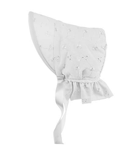 Glamour Girlz Magnifique bonnet de soleil pour bébé fille avec bordure en dentelle et broderie anglaise (3–6 mois, blanc)