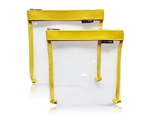 nex trip Kulturbeutel [2\'er-Set] Transparent für Flüssigkeiten Handgepäck - Kosmetiktasche durchsichtig für Flugzeug - Reiseset Kosmetik Beutel (Gelb)