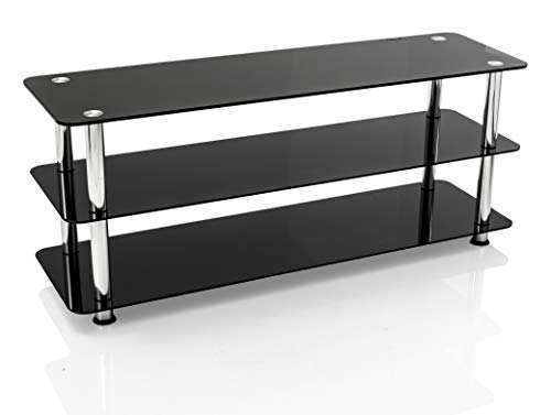 Mountright Black Glass TV Stand For Most LED LCD & Plasma Television (For TV's: 41 up to 55 Inch)