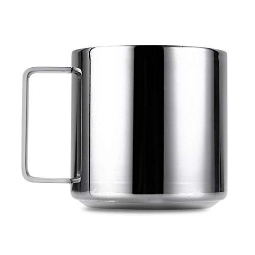 304 Edelstahl Espresso Kaffeetasse Becher Vakuum Zwei Größen mit Griff Untertassen-Sets, L-Größe, Russische Föderation
