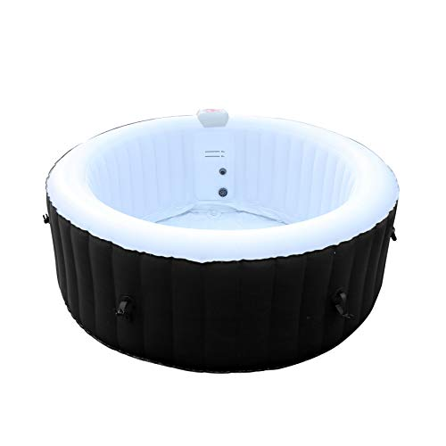 ALEKO HTIR4WHBK Round Inflatable Jetted Hot Tub Spa with Cover - 4 Person - 210 Gallon - Black