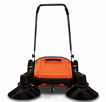 Industrial Floor Sweeper with Triple Brooms 38  Outdoor and Indoor Sweeper 38,000 Square feet per Hour 12 gal Waste Container