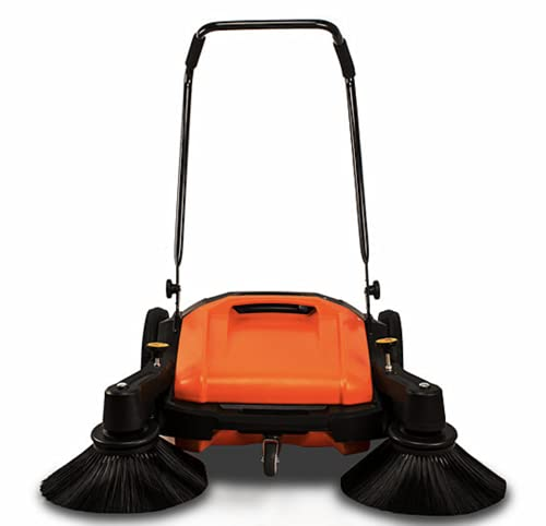 """Industrial Floor Sweeper with Triple Brooms, 38"""" Outdoor and Indoor Sweeper, 38,000 Square feet per Hour, 12 gal Waste Container"""