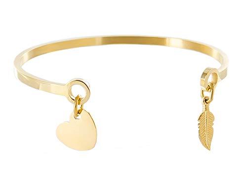 Emotional armband met veren hartje, kleur goud, ideaal voor het verdelen van een boodschap, voornaam, datum, initiaal [gouden armband]