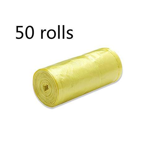 50 bolsas de basura de 46 cm de varios colores para baño, dormitorio, oficina, bolsas de basura fuertes multiusos, para papelera de basura, bolsas de basura, 50 rolls, amarillo