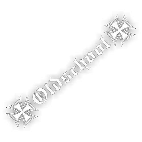 folien-zentrum Oldschool Eiserne Kreuz 55cm Shocker Hand Auto Aufkleber JDM Tuning OEM Dub Decal Stickerbomb Bombing Fun w (Weiß)