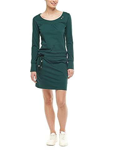 Ragwear Penelope Damen Frauen Langarmkleid,Kleid,Freizeitkleid,Jerseykleid,Langarm,Rundhalsausschnitt,Taillengürtel,Regular Fit,Grün,M