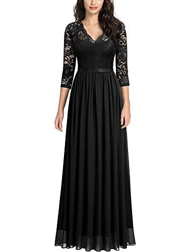 MISSMAY Women's Vintage Floral Lace V Neck Evening Bridesmaid Formal Long Dress, Large, Black