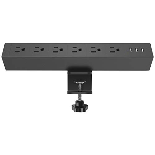 CCCEI Metal 6 Outlet Desk Clamp Power Strip, 380J Surge Protector Large Desktop Mount Outlet with 3 USB Ports, Fit 1.8 inch Tabletop Edge Thick. 6FT Power Cord. (Black)