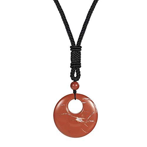 Collar De Piedra,Vintage 7 Chakra Gema Natural Piedra De Jaspe Rojo Hueco Redondo Collares Pendientes con Cadena De Cuerda Regalo De Fiesta De Cumpleaños Unisex para Mujeres Novia Niños