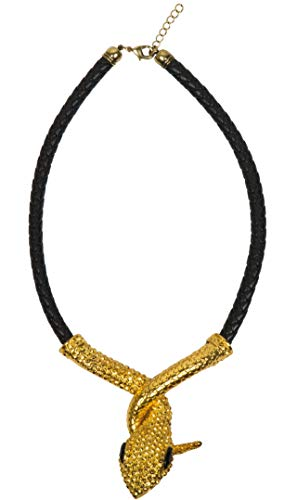 Boland 64516 - Halskette Python des Nils, 1 Stück, Einheitsgröße, schwarze Kette mit goldenem Anhänger, Schlange, Ägypten, Cleopatra, Modeschmuck, Accessoire, Verkleidung, Kostüm, Karneval