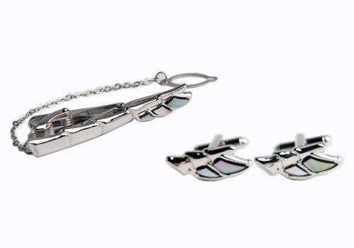 Mother of Pearl Pince à cravate Design aile fermoir barre broches-Tack-Tac et boutons de manchette