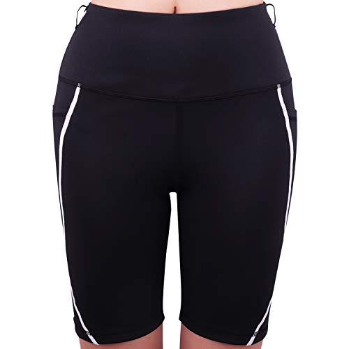 3W GRT Pantaloncini Sportivi da Donna, Leggins Sportivi Donna, Calzamaglia Pantaloni da Yoga, Tasche a Vita Alta, Pantaloni Corti Donna, Pantaloncini Yoga con Tasche Laterali (Nero, M)