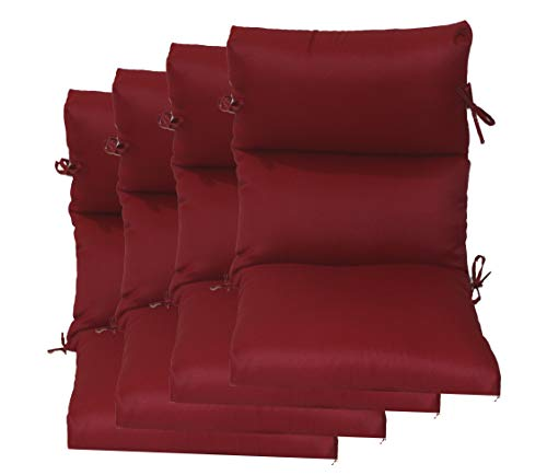 Set of 4 Outdoor Chair Cushion 22' W x 44' L x 4.5' H. Polyester Red Fabric by Comfort Classics Inc.