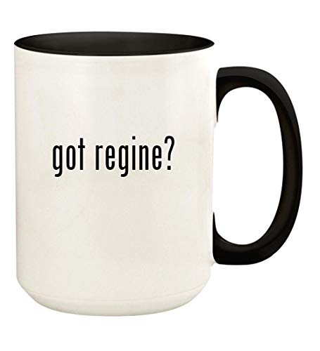 got regine? - 15oz Ceramic Colored Handle and Inside Coffee Mug Cup, Black