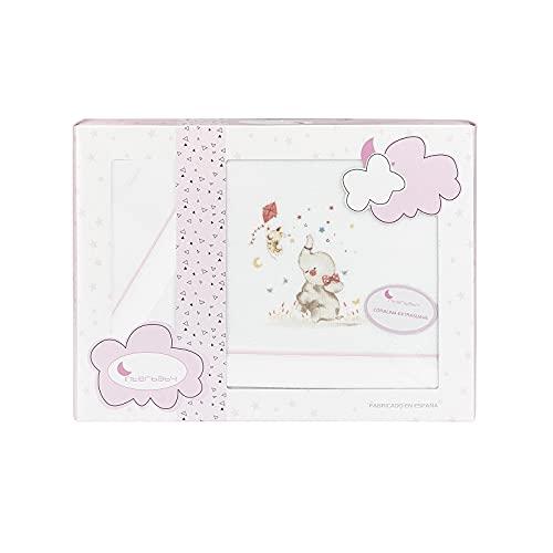 Sabanas de Invierno CORALINA Extrasuave MINICUNA 50x80 - (bajera+encimera+funda almohada) - Color: Blanco/Rosa - OFERTA