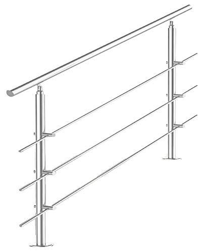 Treppengeländer Edelstahl Handlauf Geländer Balkongeländer Aufmontage Treppe, Länge:120 cm;Anzahl Streben:3