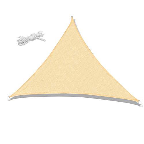 Heionia Sonnensegel HDPE 95% UV-Schutz inkl Befestigungsseile Sonnenschutz Garten Balkon Wetterschutz Wasserabwaisend Terrasse Dreieckig Schattensegel Windschutz für Outdoor(3*3*3 M, Creme-Dreieck)
