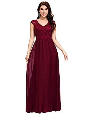 Ever-Pretty Women's V-Neck Lace Formal Party Dress Long Bridesmaid Dresses for Wedding Burgundy US16