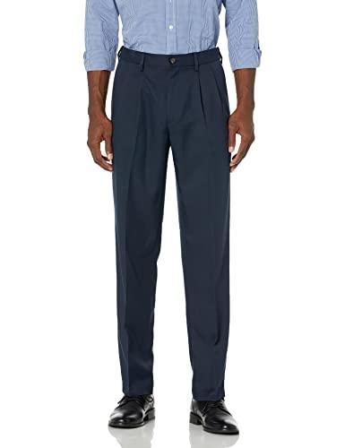 Amazon Essentials Expandable Waist Classic-Fit Pleated Dress Pants Pantaloni, Marina Militare, W38 / L32