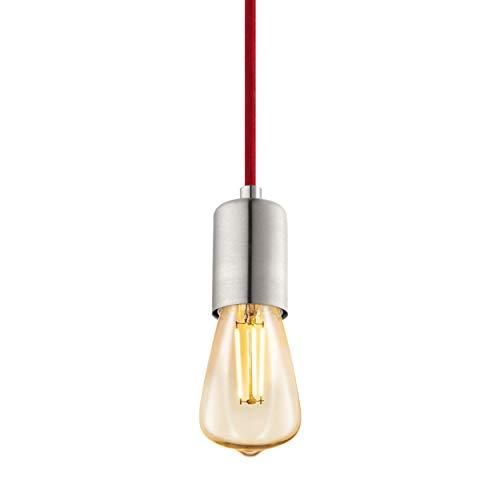 EGLO Yorth - Lámpara de techo colgante vintage industrial de acero níquel mate, cable rojo, lámpara de mesa de comedor colgante con casquillo E27